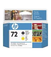 Printhoved, HP No 72 mat sort + gul 130 ml