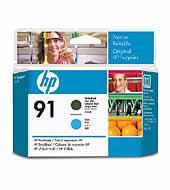 Printhoved, HP No 91 mat sort + cyan
